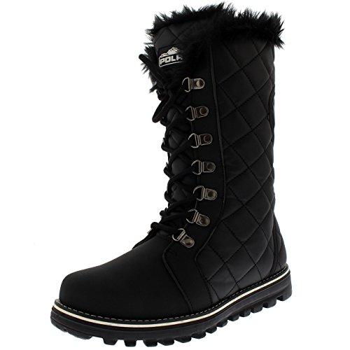 Polar Boot Damen Gesteppt Kunstpelz Gezeichnet Winter Warm Gemütlich Schnee Regen Knie Hoch Stiefel - Schwarz - UK6/EU39 - YC0500 (Knie Hohe Stiefel)