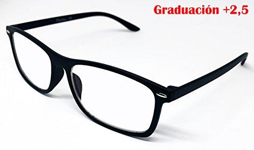 Delta Glasses con graduación - Gafas para ordenador, TV, tablet, smartphone, gaming. Contra el cansancio ocular, mayor confort visual, certificada una Reducción de la luz azul del 41% Y UV Del 100%, Filtro para Pantalla - Gafa de lectura con tratamiento anti-reflejante de luz azul. (+,2,5)