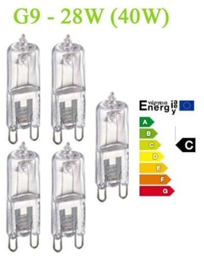 Trango 5er Pack Dimmbare G9 Halogen 230V Energiesparlampe 28W (entspricht 40 Watt-Glühbirne) Energieeffizienzklasse:C