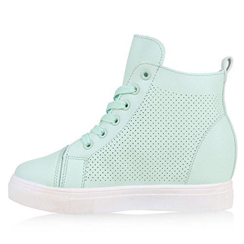 wedges Sneaker Damen Top High Türkis Keilabsatz Sneakers Schuhe qrIItzwW