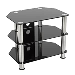 "Gloss Black Glass TV Stand, Silver Legs, 3 Tier, Cable Management for up to 32"" inch LCD, LED, Plasma televisions - 60cm"