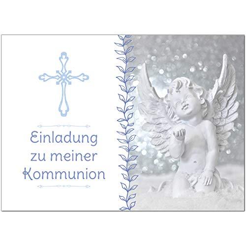 15 x Einladungskarten Kommunion mit Umschlag/Engel mit verspielten Details/Kommunionskarten/Einladungen zur Feier