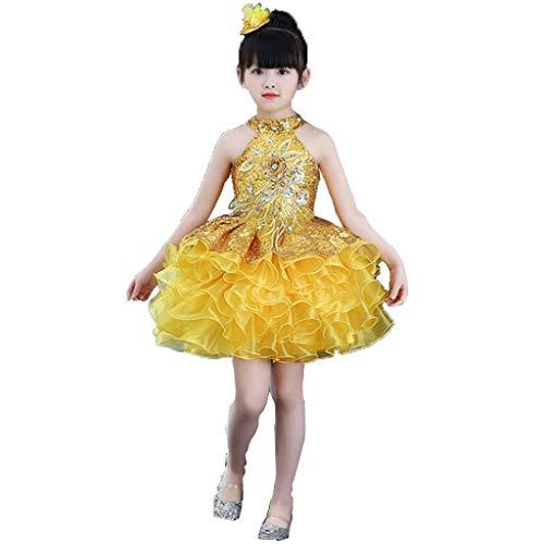 Flash Mädchen Tutu Kostüm - HUO FEI NIAO Mädchen-Tanzkostüme - Kostüm Prinzessin Dress Sequined Tutu Ballet Jazz (Color : Yellow, Size : 130)