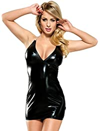 Wetlook Dessous Mini Kleid in schwarz dehnbar inkl String / Damen Dessous Lackkleid