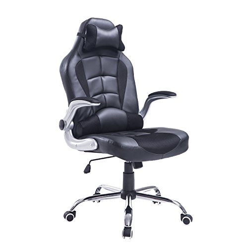 HOMCOM - Silla de Oficina Gaming Ajustable y giratoria, Color Negro