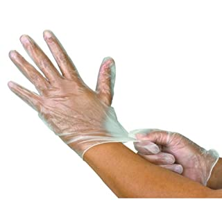 1000 (10 Box) x Vinyl Latex Powder Free Gloves Disposable Clear Food Medical etc. (Medium)