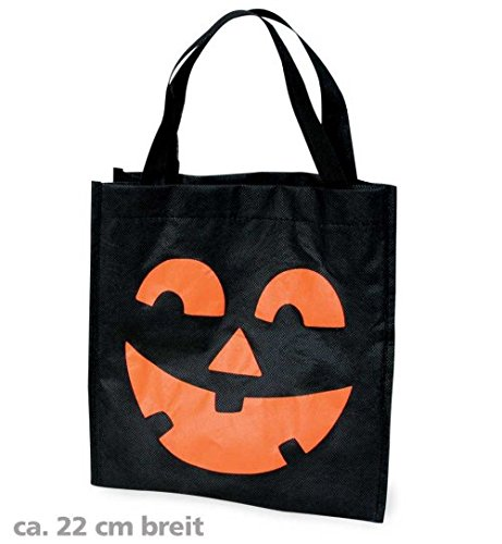 Halloween Tasche Halloweentasche mit Aufdruck Kürbis Gesicht schwarz