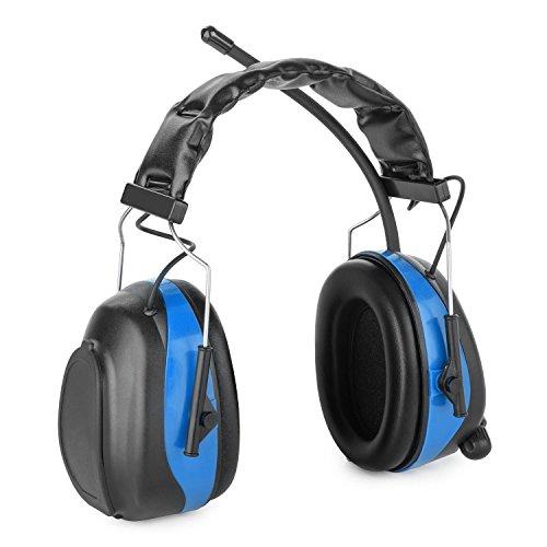auna Jackhammer 2.0 • Lärmschutzkopfhörer • Gehörschutz • Kopfhörer • AUX-In • 28 dB • 88 bis 108 MHz Frequenzband • 5 Senderspeicherplätze • blau