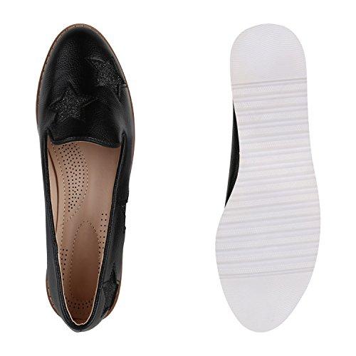 Damen Loafers Quasten Glitzer Slipper Profilsohle Dandy Geek Schwarz Sterne