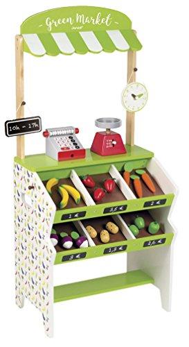 Janod Holzspielzeug - Obst Gemüse Kaufladen Kaufmannsladen Green Market 32 Teile - 40 x 30 x 93 cm, lindgrün