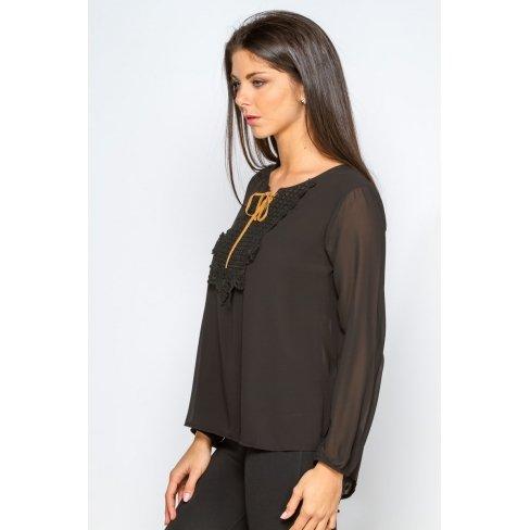 Princesse boutique - Blouse NOIRE col lacé Noir