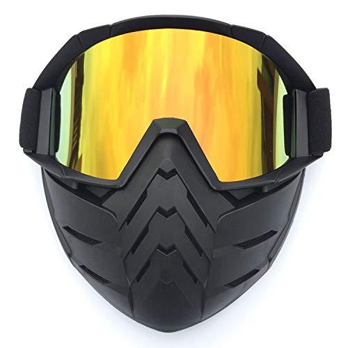 CXJ Motocross-Schutzbrillen Motorradbrillen Winddicht Staubdicht Schmutz Kratzfest Wrap Reitbrillen Abnehmbare Maske über Brille,LightRed-Lens