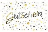 Karte Gutschein allgemein Text mit Prägung Kullern gold - Liefermenge 5 Stück