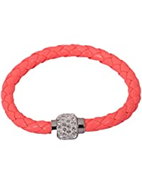 Angelfish Pu Leather Crystal Bracelet With Magnet Clasp For Unisex - B07318T4MM
