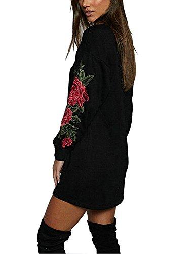 Sweat Long Femme Hiver Mini Robe Pull Moulante Manche Longue Mode Vintage Sweat-shirt Fleur Patchwork Col Rond Casual Imprimé T-shirt Automne Jumper Blouse Tunique Haut Top - Landove Noir