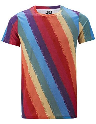 Funny World T-shirts Rétro arc en ciel Homme (L, arc en ciel)