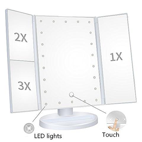 ABCRET 22LED beleuchteter Trifold Make-up-Spiegel mit Touchscreen, 1x / 2x / 3x Vergrößerung und USB-Aufladung, 180 ° verstellbarer Standfuß für Arbeitsplatte Kosmetik (Doppelseitige Beleuchteter Make-up-spiegel)