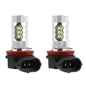 cicmod 2x h11 h8 80w 1500 lumens ampoules led feux de brouillard diurne lampe au. Black Bedroom Furniture Sets. Home Design Ideas