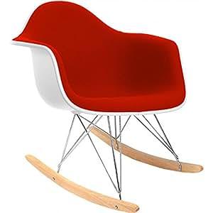 Chaise à bascule RAR Charles Eames Style - Tissu Rouge