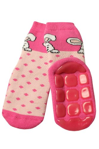 Weri Spezials Baby Voll-ABS Socke Hase+Punkte Motiv in Rosa Gr.15-16 (3-6 Monate) (Rosa 15 Volle)