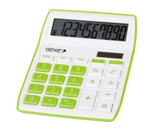Genie 840 G 10-stelliger Tischrechner (Dual-Power (Solar und Batterie), kompaktes Design) grün