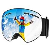 Mpow Skibrille Kinder, Kinder Snowboardbrille mit Abnehmbarer sphärischer Doppelschichtlinse, UV400-Schutz, OTG, Schneebrille für Kinder, Jugendliche