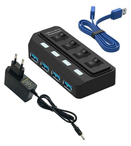 Hub USB 3.0 - 4 Puertos Adaptador de Corriente(5V/2A) y Cable USB(60CM) para Macbook Pro Surface Windows 10 Linux Negro - Tumao
