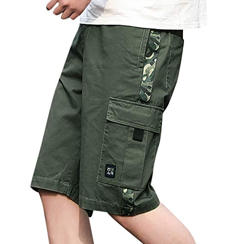 Chino Kurze Hose Sommer Bermuda Sport Jogging Training Stretch Shorts Qmber Fitness Vintage Regular Fit Sweatpants Lässige Outdoor Arbeitshose Beach Baggy Shorts Pant(AG,L) ()
