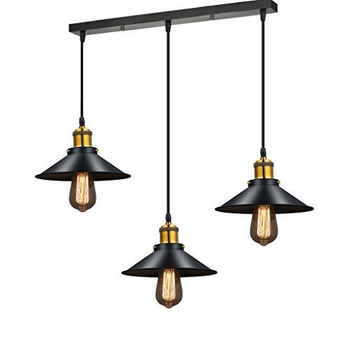 Lustre moderne Lustre LED éclairage noir plafond en métal lustres Vintage lumière salle à manger chambre Hanglamp suspension luminaire (edition : Three straight straight)