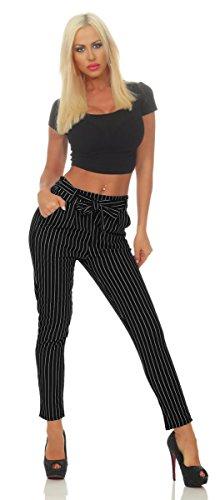 OSAB-Fashion 5751 Damen Hose Bundfaltenhose Haremshose Nadelstreifen Damenhose Gestreift Streifen