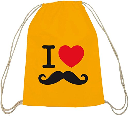 Shirtstreet24, I LOVE SCHNURRBART, Moustache Baumwoll natur Turnbeutel Rucksack Sport Beutel gelb natur