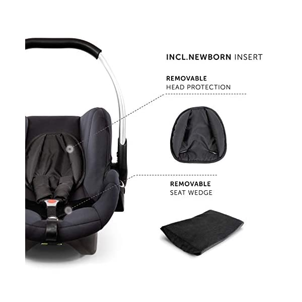 Hauck Comfort Fix Set, Lightweight Group 0 Car Seat with Isofix Base, ECE 44/04 from Birth to 13 kg, Side Impact Protection, Safety Indicators, Travel System, Black Hauck NEW-BORN CAR SEAT - This comfy car seat with ergonomically shaped carry handle made of aluminium, breathable fabrics, head protection, seat minimizer, and sun hood is suitable from birth up to 13 kg SAFETY - The Comfort Fix car seat is approved to ECE 44/04. With its side-impact protection, tried and tested energy-absorbing foam in head and shoulder area, as well as 3-point harness, it has also received best crash test results by ADAC (2.1) TRAVEL SYSTEM - Combine the car seat with hauck pushchairs Rapid 3, Rapid 4, Rapid 4S, Rapid 4X, Atlantic, Maxan 3, Maxan 4 and their Trios, Duett 3, Rapid 3R Duo without adapters, and Vegas, Lift Up 4 as well as Duett 2 with adapters 6
