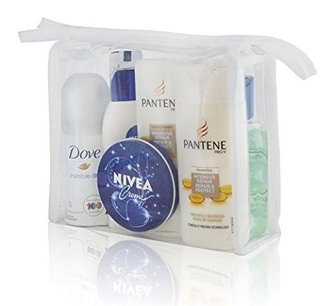 Ladies HOLIDAY TRAVEL Wash Gift Bag - DEO SHOWER HAIR CREME DENTAL SANITISER