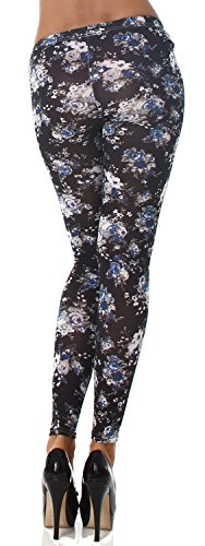 Q.A. Damen Leggings lang in verschiedenen Designvarianten schwarz Blume 2