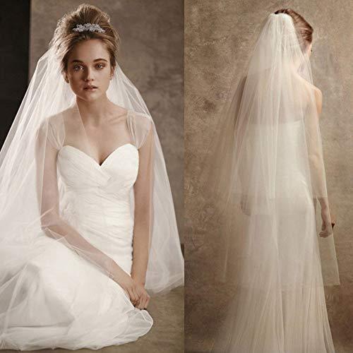 JFSKD Brautschleier Volltonfarbe drapieren doppelseitigen Schleier Schleier Hochzeitskleid Tiara Hochzeitskleid Zubehör,White (Schaum Tiara)