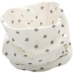 K-youth® Otoño Invierno Estrellas Patrón Algodón Pañuelos Niños Niñas O Cuello Bufanda Bebé (Blanco)