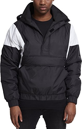 Urban Classics Herren 2 Tone Pull Over Jacket Jacke, Mehrfarbig (Black/White 00826), Medium Classic Nylon Mantel
