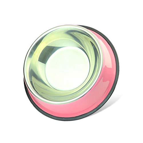 Bottom-ports (CRMY Haustierfutterschüssel aus Edelstahl, Tierschüssel Anti-Rutsch-Becken Hundebecken (Grundfarbe, Rosa, Himmelblau, Orange, Grasgrün) (Color : Pink, Size : (bottom 30cm bowl Port 22cm)-5))