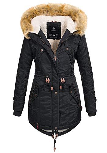 Navahoo warme Damen Winter Jacke Teddyfell Winterjacke Parka Mantel B399 [B399-Schwarz-Gr.L]