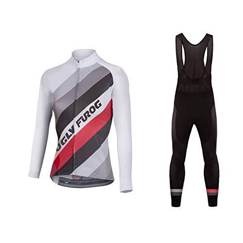 Uglyfrog Abbigliamento Ciclismo Set Vello Invernale Bodies Sportivo per Bicicletta Maglia e Pantaloni da Donna Mantieni Caldo Traspirante Alta Elasticità RTWX02