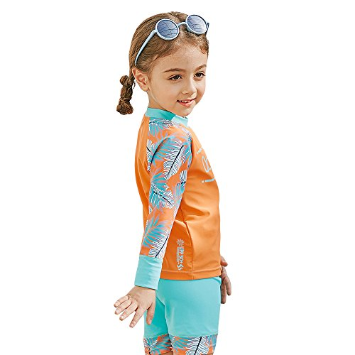 Decdeal 2-teilig Mädchen Badeanzug UV Schutz Badeset aus Badeshorts und Bade Langarm Shirt Inkl. Badekappe