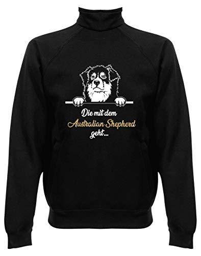 BlingelingShirts Damen Sweatjacke ohne Kapuze Damen Sweater Jacke Glitzer Australian Shepherd Die mit dem Australian Shepherd geht, Jacke, Druck weiß und n-Gold, Grösse L, schwarz Australian Shepherd Sweatshirt