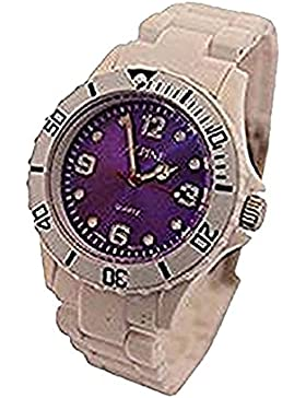 Alpine boy's girl's Toy Style Fashion Plastic Watch White with Purple Face Fold Over Clasp extra battery