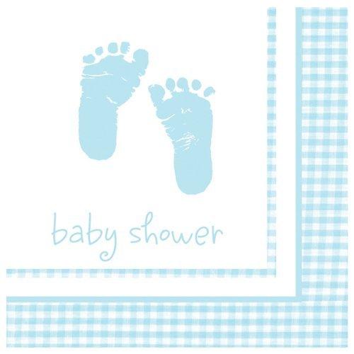 Bébé garçon empreintes et vichy 33 cm Serviettes en papier motif pk16