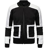 Invierno abrigo de invierno negro y blanco costura todo partido espacio chaqueta de algodón de los hombres de manga larga Jersey abrigo,Black,XL