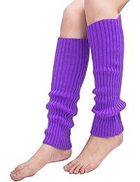 chuangli algodón calentadores de la pierna–moda invierno Candy Color de punto calcetines largos, acrílico, Morado, talla única