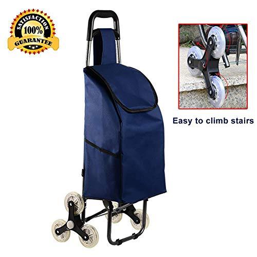 SuRose Zusammenklappbarer Einkaufswagen, Treppensteigewagen für bis zu 50 kg, Leichter Trolley mit 6-Rad-Rollen für Wäsche-, Lebensmittel-, Camping- und Sportveranstaltungen,