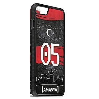 aina Kompatibel mit iPhone 8 Plus + Silikon Handyhülle Flexibles Slim Case Cover Türkei 05 Amasya Motiv Bild Schwarz