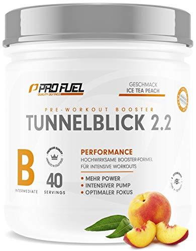 TUNNELBLICK 2.2   Power • Fokus • Pump   Pre Workout Booster   DAS ORIGINAL von ProFuel ®   Pump Booster mit Guarana, Beta-Alanin & Tyrosin   360g - 40 Portionen   ICE TEA PEACH (Eistee Pfirsich)