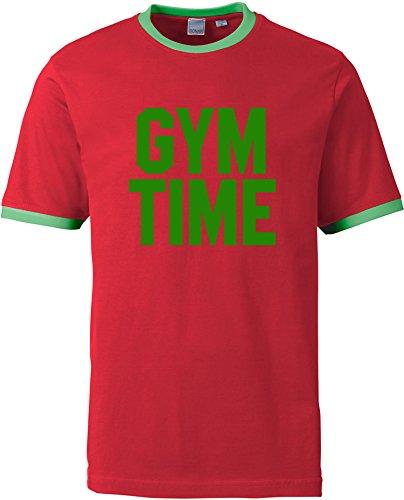 EZYshirt® Gym Time Herren Rundhals Ringer T-Shirt Rot/Grün/Grün